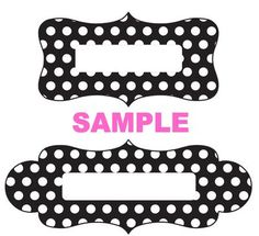 Label Sample - Black White Dots: Unique name plate tags and labels for your gift boxes, favor bags, food tables, banquet tables and books. Resize and personalize by following the tutorials