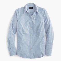 Shop J.Crew for the Tall curvy slim stretch perfect shirt in stripe for Women. Find the best selection of Women Shirts & Tops available in-stores and online. Crew Clothing, Curvy Fit, Ladies Dress Design, Cashmere Sweaters, Printed Cotton, J Crew, Cute Outfits, Button Down Shirt, Clothes For Women