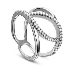 Creative Design 925 Sterling Silver Finger Ring, with Micro Pave AAA Zirconia Double Bands and Leaf, Platinum; Size:about 18mm inner diameter, 14mm wide.<br/>Priced per 1