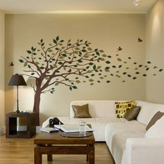 Blowing Leaves Tree Decal - Simple Shapes Wall Decals, Furniture, and Accessories