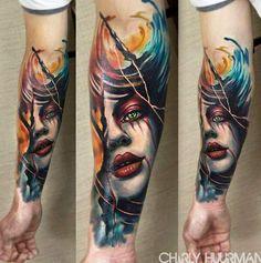 Realistic Face Tattoo by Charles Huurman    Tattoo No. 12426