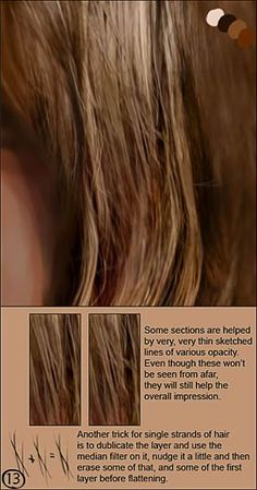 CGSociety - Tutorial: How to Paint Realistic Hair. By: Linda Bergvist; Part 13 http://www.cgsociety.org/index.php/CGSFeatures/CGSFeatureSpecial/tutorial_how_to_paint_realistic_hair#