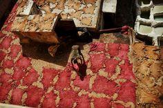 Ein Arbeiter legt in Fez Häute zum Trocknen aus. Natalia Ciobano war in Marokko...