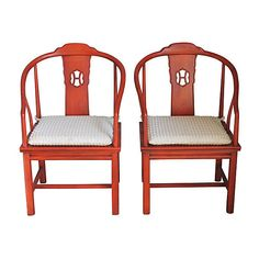 Pre-Owned Henredon Chinoiserie Armchairs  Pair ($1,679) ❤ liked on Polyvore featuring burnt orange