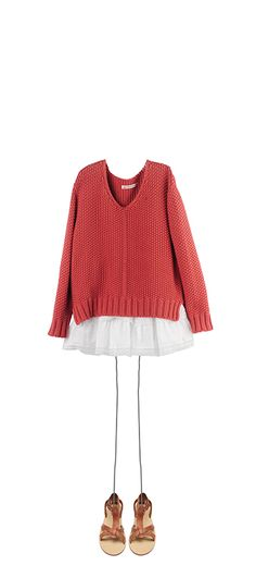 Sweater Sienna colour Angelina dress Milk White Navplia sandals Natural
