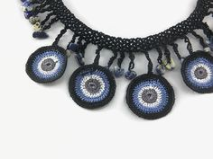 Multicolor Circles Crochet Necklace, Statement Jewelry - Boho chic Textile Necklace This elegant, unique and delicate necklace is hand crocheted with Turkish oya thread and intermixed with natural stone beads . This eye catching statemetement circles necklace makes a dramatic accessory