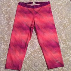 "Power core athletic pants Crop length leggings. Polyester/spandex. 18"" inseam. Pink/purple/orange. Champion Pants Leggings"