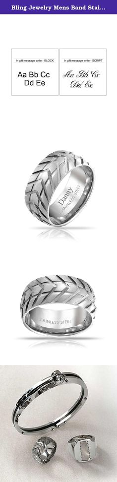 Bling Jewelry Mens Band Stainless Steel Tire Tread Style Grooved Ring With Free Engraving. Perfect for the car or bike enthusiast in your life, this Tire Ring is a radical piece from our line of mens stainless steel rings. This mens band features a grooved tread finish that provides this stainless steel band with a truly unique finish. Those with an interest in cars, motorcycles, trucks, or any other automotive hobby will definitely love. So, give your loved one this mens ring for their...