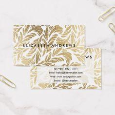 Elegant faux gold white vintage chic floral Damask Business Card - elegant gifts gift ideas custom presents