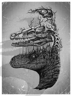 Mind Blowing Pen And Ink Illustrations By Paul Jackson - Neatorama Ink Illustrations, Illustration Art, Dinosaur Illustration, Paul Jackson, Animal Skeletons, Jurassic Park World, Jurassic Park Tattoo, Dinosaur Art, Prehistoric Creatures