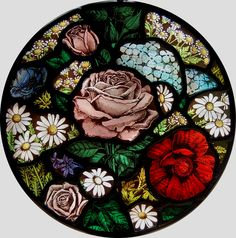 Floral Roundel. Stained Glass by Benjamin Finn Vidriera de Benjamin Finn (UK)