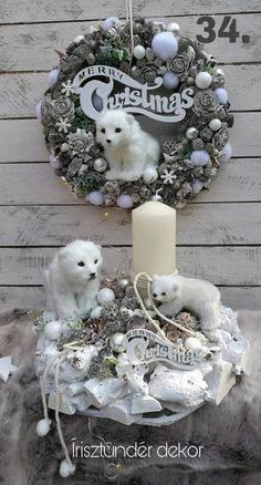 Pin by pamela gundacker on Christmas decorations Crochet Christmas Wreath, Christmas Wreaths To Make, Christmas Swags, Christmas Scenes, Christmas Candles, Rustic Christmas, Christmas Projects, Winter Christmas, Christmas Ornaments