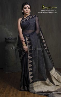 Handloom High Thread Count Linen Saree with Temple Border and Gicha Pallu in Charcoal Black Stylish Mehndi Designs, Desi Wear, Casual Saree, Charcoal Black, Handloom Saree, Black Linen, Saree Styles, Designer Sarees, Modern Outfits