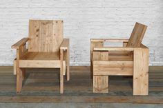armchairs made of reclaimed scaffolding wood