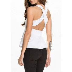 White Plain Cross Back Ruffle Backless Round Neck Vest