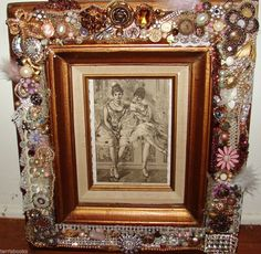 GOLD FRAME Antique Ballerina Victorian Art Etching VINTAGE RHINESTONE JEWELRY