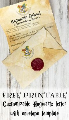 Free Printable Customizable Hogwarts Letter and Envelope is part of Harry potter halloween - Make your own Hogwarts letter! Tutorial includes a Hogwarts acceptance letter printable and instructions to create a Harry Potter envelope and Hogwarts seal Baby Harry Potter, Harry Potter Baby Shower, Harry Potter Motto Party, Objet Harry Potter, Harry Potter Fiesta, Harry Potter Invitations, Harry Potter Thema, Classe Harry Potter, Harry Potter Halloween Party