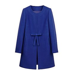 Collarless Bowknot Snap Front Plain Woolen Coat