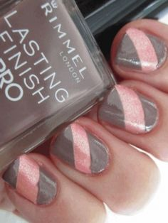 This looks so easy if I use tape on dried fingernail polish to make the stripes