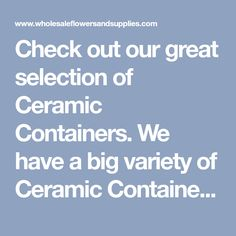 Check out our great selection of Ceramic Containers. We have a big variety of Ceramic Containers at your disposal with wholesale pricing. Wholesale Vases, Ceramic Flower Pots, The Selection, Container, Ceramics, Big, Check, Floral, Ideas