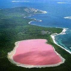 Lago Hiller > O lago de coloração rosa é considerado uma das maravilhas naturais da Austrália. A sua cor diferenciada não possui uma explicação plausível até os dias de hoje. A única coisa que se sabe é que cor da água não se altera durante o ano todo e mesmo se ela for recolhida num recipiente permanece na mesma tonalidade.