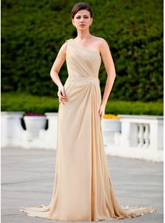 Mother of the Bride Dresses - $155.99 - A-Line/Princess One-Shoulder Court Train Chiffon Mother of the Bride Dress With Ruffle Lace Beading  http://www.dressfirst.com/A-Line-Princess-One-Shoulder-Court-Train-Chiffon-Mother-Of-The-Bride-Dress-With-Ruffle-Lace-Beading-008024586-g24586