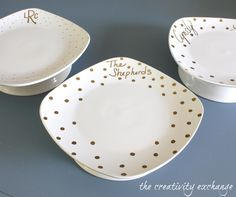 Tutorial for how to turn dollar store plates and bowls into chic cake stands. Perfect for giving sweet treats. {The Creativity Exchange}