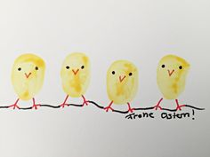 Osterkarte,Osterkarten,kleine Kücken,mit Kindern basteln, mit Kleinkindern basteln, Fingermalfarben, Postkarten, Ostergrüße