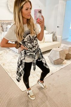 Oversized tee and leggings is the comfiest everyday look!