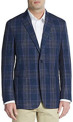 $895, Navy Plaid Blazer: Ike Behar Regular Fit Plaid Linen Sportcoat. Sold by Off 5th. Click for more info: https://lookastic.com/men/shop_items/298619/redirect