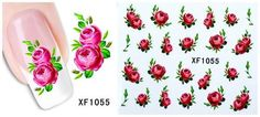 Nail Art Water Transfer Sticker Decal Stickers Pretty Flowers Red Green - Flowers Art - Ideas of Flowers Art Flowers For Sale, Pink Flowers, Pretty Flowers, Toe Nail Art, Nail Art Diy, Diy Nails Stickers, Edge Nails, Nail Tattoo, Uv Nails