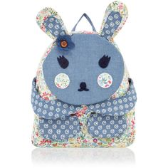 Monsoon Peek-A-Boo Bunny Rucksack (92 BRL) ❤ liked on Polyvore featuring bags, backpacks, bunny backpack, patchwork backpack, floral rucksack, blue bag and flower print backpack