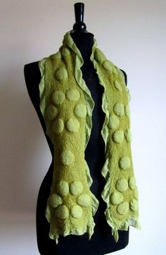 Olive Green Nuno Felted Scarf with