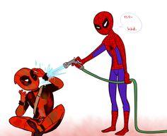 Pix For > Spiderman Deadpool Love