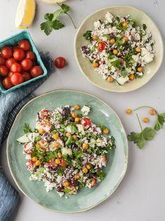 Salada Mediterrânica de Cuscuz de Couve-Flor