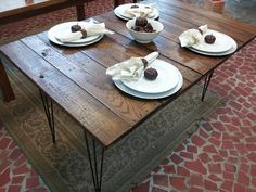 Reclaimed Wood Table with Hairpin Legs, Vintage Industrial Style (mmmm...reclaimed wood)