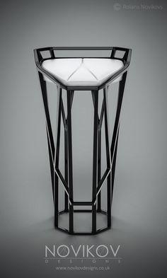 Octa Stool - Grey metallic frame with red leather seat by Novikov Designs Steel Furniture, Industrial Furniture, Cool Furniture, Modern Furniture, Furniture Design, Wire Bar Stools, Cool Bar Stools, Deco Zen, Interior Design Plants