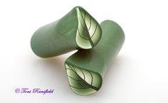 Green Shaded Leaf Cane Polymer Clay
