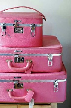 COLOR | Pink luggage. Need//OMG! This is the exact set I got around the time I graduated from high school in 1965!! Had/used them forever. Ahem, ahead of my time for this pink culture now. P