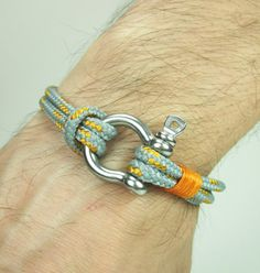 Paracord Bracelet in GrayOrange Survival Bracelet by ZEcollection