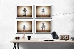 Set of Four Retro Robot Photo Art Prints, Wall Art for Kids Room, Vintage Space Decor, Sci Fi Art Vintage Robots, Retro Robot, Vintage Sports Nursery, Professional Photo Lab, Space Toys, Vintage Space, Boys Room Decor, Bedroom Decor, Old Wall