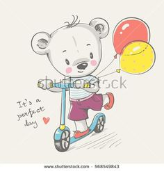 Cute little bear riding a scooter cartoon hand drawn vector illustration. Can be used for baby t-shirt print, fashion print design, kids wear, baby shower celebration greeting and invitation card.