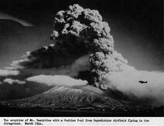 Mount Vesuvius Erupting in 1944 It must have seemed like the earth's own call to arms in the face of the devastation taking place all around, and to the drafted witnesses it was difficult to describe. Some servicemen likened the mountain's earthshaking eruption to bombs going off – ironic given the chronic danger of real shells exploding – while others evoked thunder to express the tremendous roaring noise made by the ground quaking. All comparisons to acts of both man and nature seemed to fail