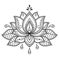 Mehndi Lotus flower pattern for Henna drawing and tattoo. Decoration in ethnic oriental, Indian style. Mehndi Lotus flower pattern for Henna drawing and tattoo. Decoration in ethnic oriental, Indian style. Henna Patterns, Flower Patterns, Flower Pattern Drawing, Pattern Flower, Indian Patterns, Flower Template, Mandala Pattern, Crochet Patterns, Mehndi Designs