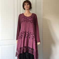 Made in Italy Plum Lacey Tunic