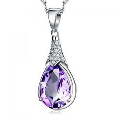 Graceful Faux Amethyst Rhinestone Water Drop Necklace For Women (€4,35) ❤ liked on Polyvore featuring jewelry, necklaces, amethyst jewelry, fake jewelry, amethyst stone necklace, artificial jewelry and drop necklace
