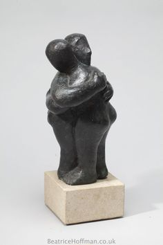 Bronze Resin #sculpture by #sculptor Beatrice Hoffman titled: 'Small Embrace (abstract bronze resin Lovers statue)'. #BeatriceHoffman