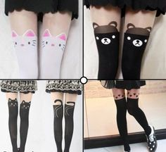 Bear Cat Black Stocking Tight  Pantyhose Lovely Over Knee Tattoo Free Shipping!