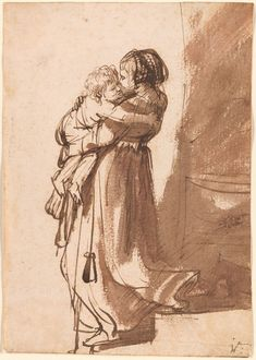 Rembrandt A Woman and Child Descending a Staircase. Ink and wash sketch x cm. Pierpoint Morgan Library, New York ART & ARTISTS: Rembrandt – part 2 Life Drawing, Figure Drawing, Painting & Drawing, Rembrandt Drawings, Rembrandt Art, Rembrandt Etchings, Trois Crayons, Dutch Painters, European Paintings