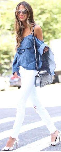 #fall #street #style | Chambray + White